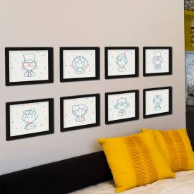 Kit com 8 Quadros Decorativos Com Moldura Personagens Cultura Pop